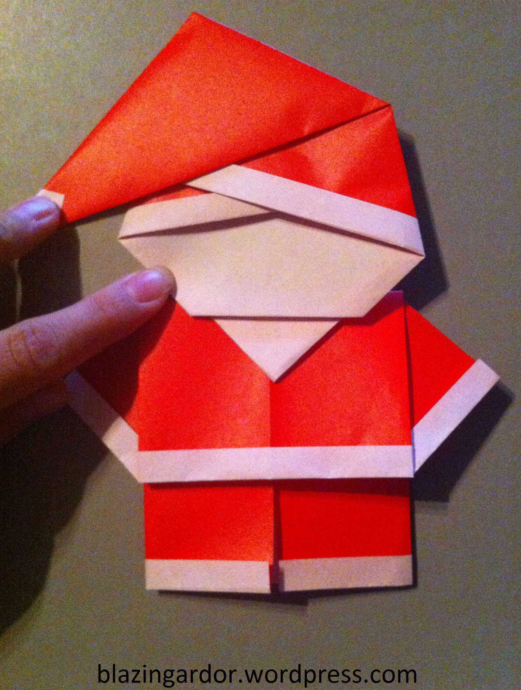 Origami santa how to guide blazing ardor for How to make easy crafts step by step